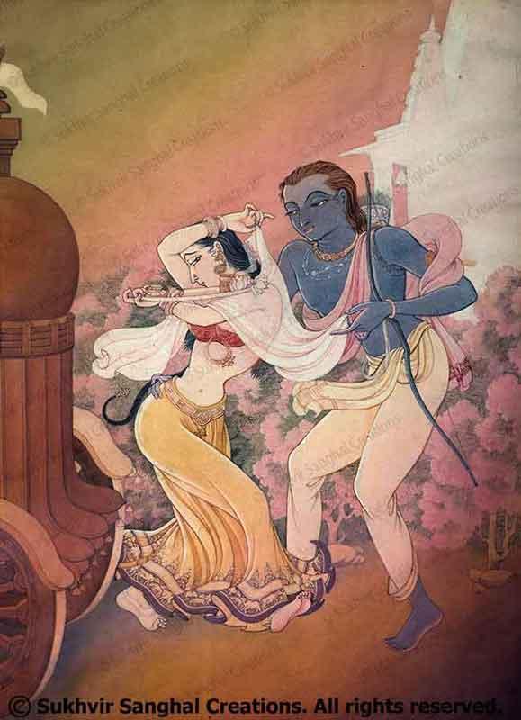 Paintings based on Indian rasas by Prof. Sukhvir Sanghal